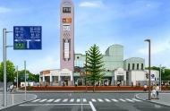 道の駅外観水彩パース